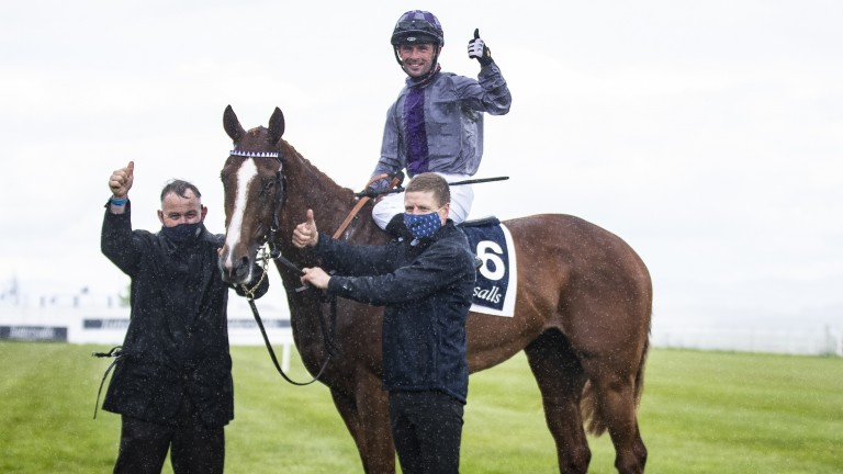 A delighted Rory Cleary gives the thumbs up following Mac Swiney's success