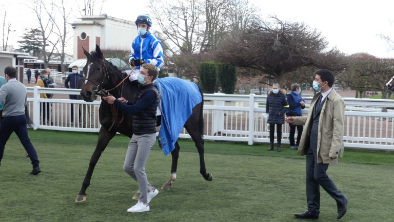Sibila Spain and Aurelien Lemaitre under the watchful eye of trainer Christopher Head following a nine-length debut success at Saint-Cloud