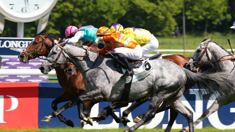 Skalleti (orange silks) and Gerald Mosse hunt down the British challenge of Tilsit (pink cap) and My Oberon (yellow silks) in a desperate finish to the Prix d'Ispahan