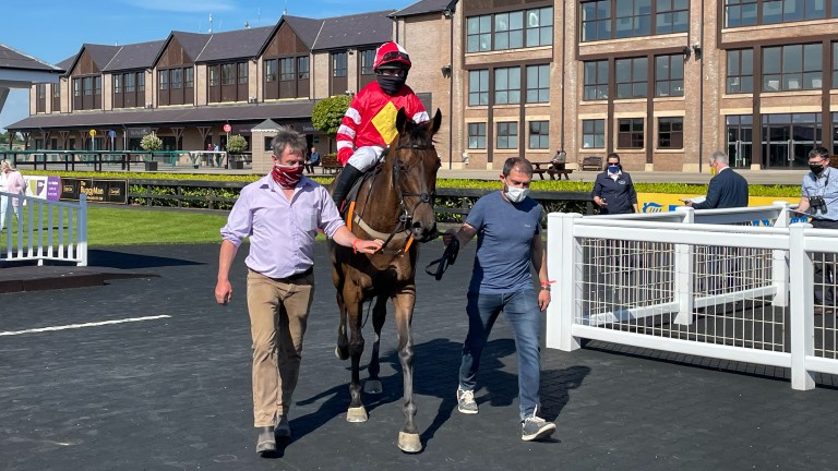 Brian McMahon (right) leads in Sizing Malbay after his victory at Punchestown