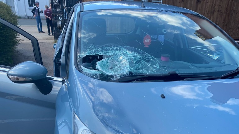 Extent of damage to the car which was in collision with the Newmarket-trained Luna Wish