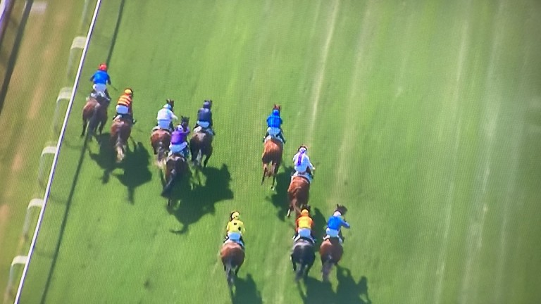 Adam Kirby and Adayar burst through to lead the Derby