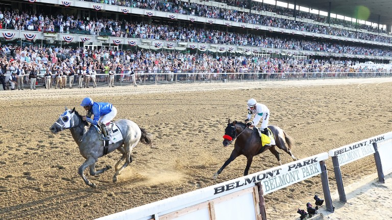 Essential Quality gets the better of Hot Rod Charlie in a thrilling duel at Belmont Park
