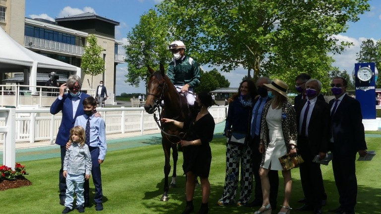 Tahlie and Christophe Soumillon after their victory in the Group 2 Prix de Sandringham
