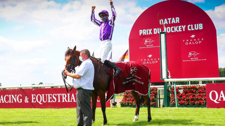 Top of the world: Ioritz Mendizabal celebrates a third Qatar Prix du Jockey Club success on St Mark's Basilica, following on from Mishriff (2020) and Vison D'Etat (2008)