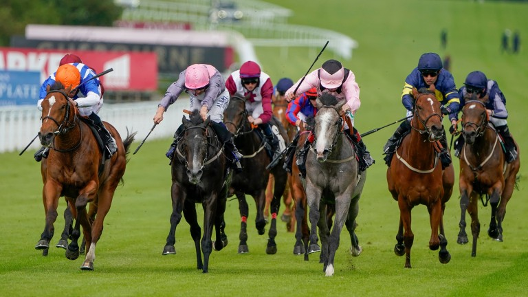 Rosa Mystica (left) wins the seller at Goodwood under William Buick before being bought back in for a record £38,000