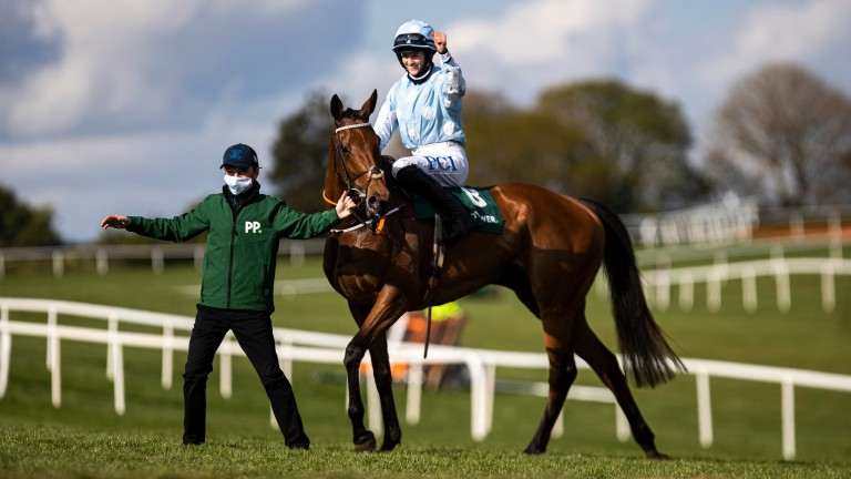 Rachael Blackmore celebrates after winning the Grade 1 Champion Hurdle at Punchestown in April