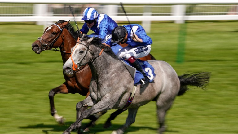 Talbeyah (far side) leads home a one-two for Shadwell at Salisbury