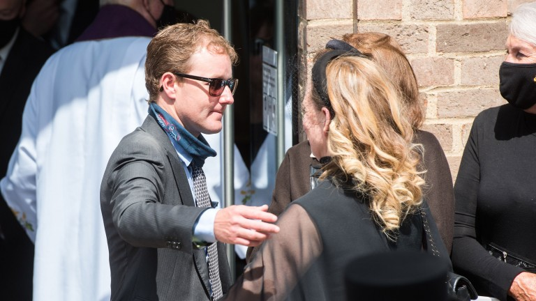 Tom Queally at Our Lady Immaculate and St Etheldreda Catholic Church in Newmarket for Barney Curley's funeral mass