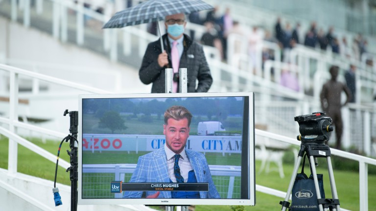 ITV Racing's Chris Hughes is on the screen at Epsom on Oaks day