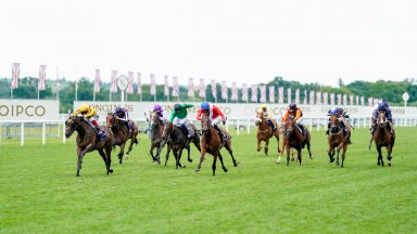 Campanelle and Frankie Dettori (yellow) win the Queen Mary at Royal Ascot