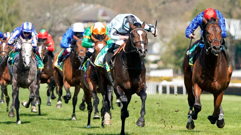 Tom Marquand riding Alenquer (pale blue) defeats Adayar (right) at Sandown in April