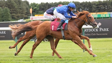 ALBAHR and William Buick (blue)  win at Haydock Park 9/6/21Photograph by Grossick Racing Photography 0771 046 1723