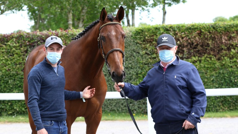JJ (left) and Dick Frisby of Glenwood Stud with the Walk In The Park gelding out of Tempest Belle