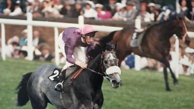 The riderless Ile De Chypre (farside) behind winner Thethingaboutitis in the 1988 King George V Handicap