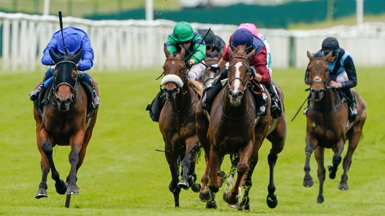 Creative Flair (left, blue) steps up in class in the Group 3 Prix Chloe
