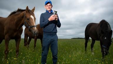 The 2021 Derby winning jockey Adam Kirby at Vicarage Farm near Newmarket10.6.21 Pic: Edward Whitaker