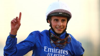 William Buick riding Rebel's Romance wins the UAE Derby during Dubai World Cup at Meydan