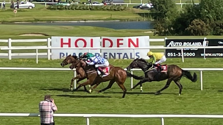 Zawara (far side) holds off Eaglefield in the conditions race at Gowran