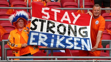 Dutch fans show their support for Christian Eriksen