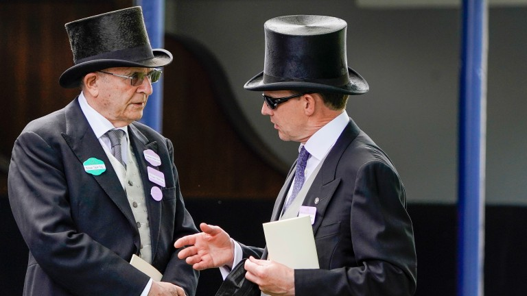 Aidan O'Brien (right) with Coolmore co-owner Michael Tabor at Ascot on Monday