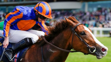 ASCOT, ENGLAND - JUNE 16: Ryan Moore riding Love win The Prince Of Wales's Stakes on Day Two of the Royal Ascot Meeting at Ascot Racecourse on June 16, 2021 in Ascot, England. A total of twelve thousand racegoers made up of owners and the public are permi