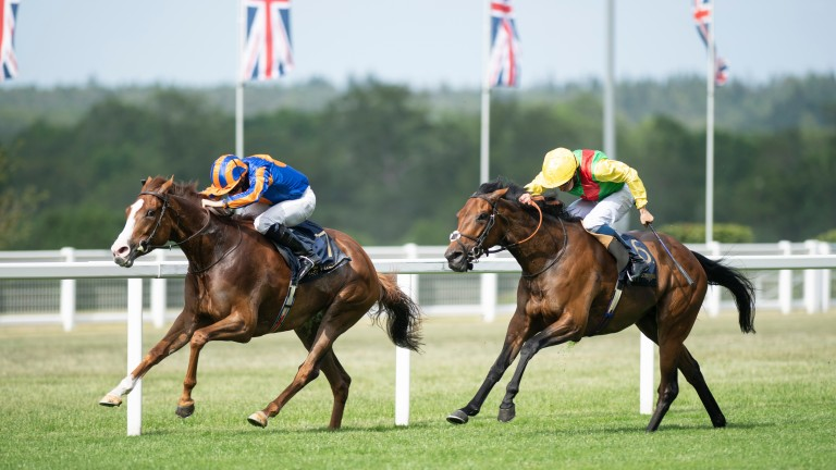Love (left): driven out by Ryan Moore to claim Group 1 success