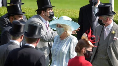 ASCOT, ENGLAND - JUNE 15: Prince Charles, Prince of Wales and Camilla, Duchess of Cornwall are seen during Royal Ascot 2021 at Ascot Racecourse on June 15, 2021 in Ascot, England. (Photo by Antony Jones/Getty Images for Royal Ascot)