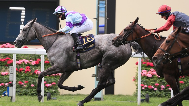Lola Showgirl and Laura Pearson cross the line in the Kensington Palace Stakes