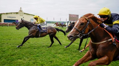 ASCOT, ENGLAND - JUNE 17: Paul Hanagan riding Perfect Power (yellow) win The Norfolk Stakes on Day Three of the Royal Ascot Meeting at Ascot Racecourse on June 17, 2021 in Ascot, England. A total of twelve thousand racegoers made up of owners and the publ