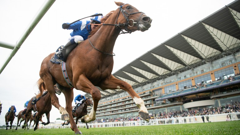 Mohaafeth and Jim Crowley on the way to winning Thursday's Hampton Court Stakes