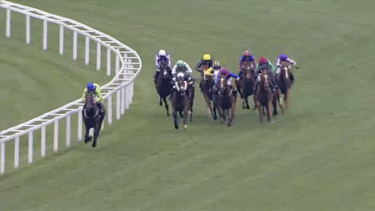 Joe Fanning kicks for home on Subjectivist, while Dettori tries to weave through traffic