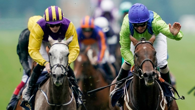 The impressive Subjectivist (right) leads home the field in the Ascot Gold Cup on Thursday
