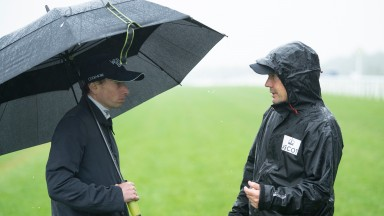 Ryan Moore and Chris Stickels talk about the conditionsAscot 18.6.21 Pic: Edward Whitaker