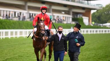 Jason Hart on board Highfield Princess after winning the Buckingham Palace Stakes on Thursday