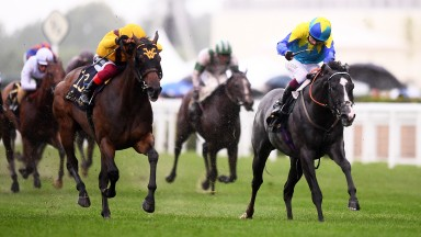 ASCOT, ENGLAND - JUNE 18: Oisin Murphy on board Dragon Symbol (R) on their way to winning the Commonwealth Cup which is later overturned on a stewards enquiry and awarded to Frankie Dettori on board Campanelle (L) on Day Four of the Royal Ascot Meeting at