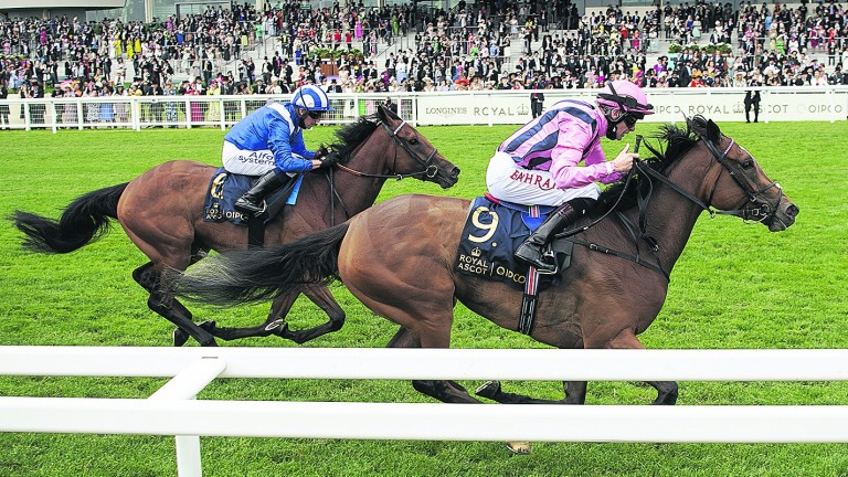 Eshaada (blue silks) lost nothing in defeat in the Ribblesdale Stakes