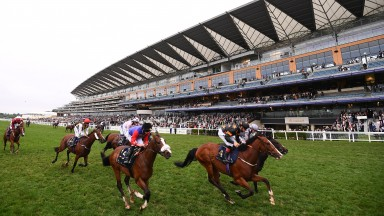 ASCOT, ENGLAND - JUNE 19: Shane Kelly on board Rohaan (C) on their way to winning the Wokingham Stakes on Day Five of the Royal Ascot Meeting at Ascot Racecourse on June 19, 2021 in Ascot, England. A total of twelve thousand racegoers made up of Owners an