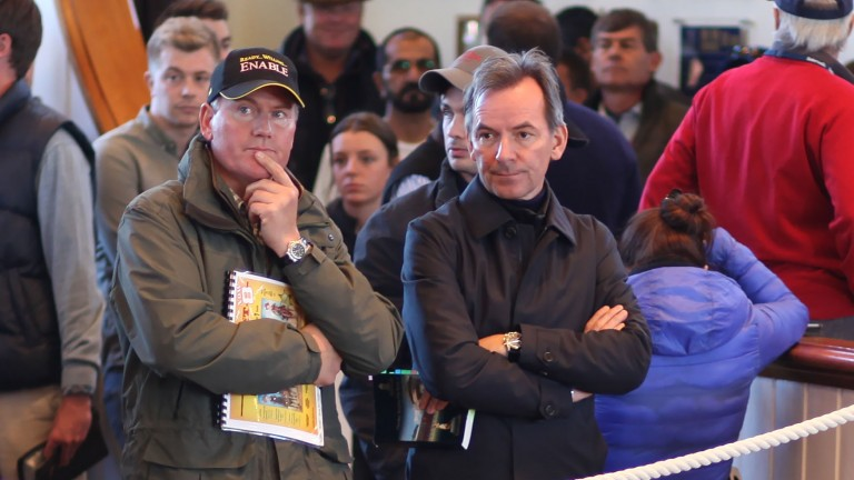 Julian Dollar and Newsells Park Stud's former owner Andreas Jacobs at Tattersalls