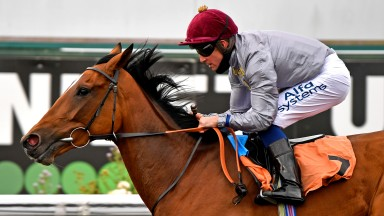 Katara (Jim Crowley) wins the Fillies' Novice Stakes at Kempton in July