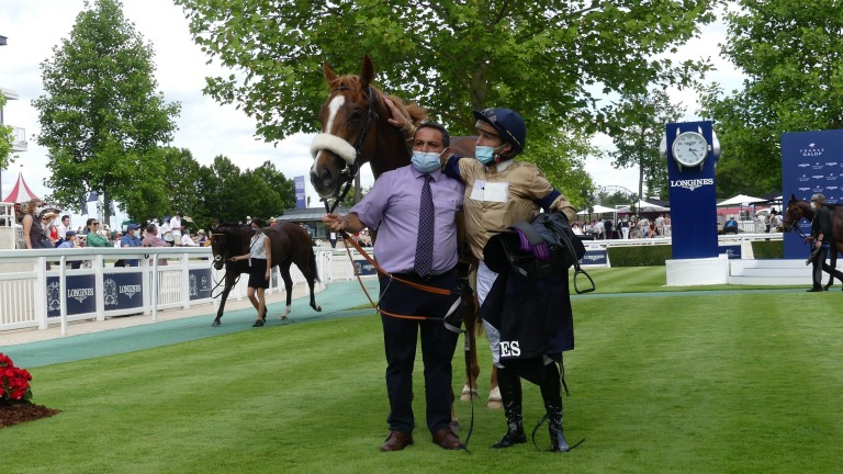 Atomic Force in the winner's enclosure at Chantilly after landing Group 3 honours last month