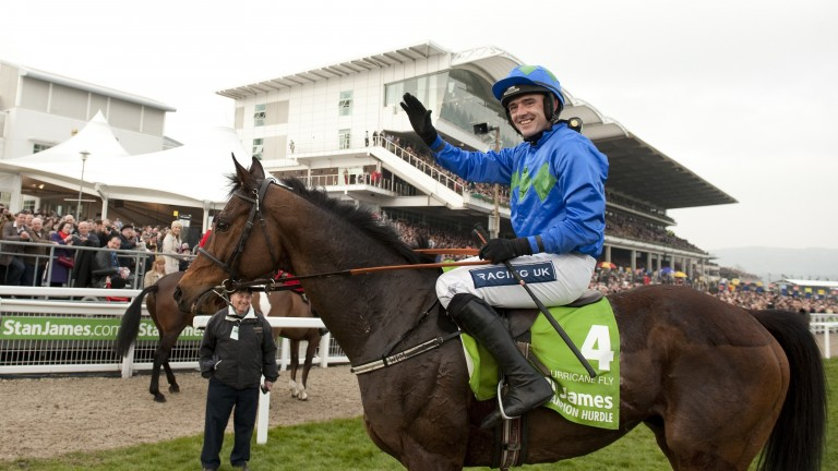 Hurricane Fly after winning his first Champion Hurdle in 2011