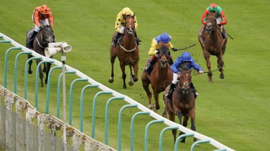 BRIGHTON, ENGLAND - JUNE 22: Marco Ghiani riding Lubna (blue) win The Get Hugh Taylor's Tips On attheraces.com Median Auction Maiden Stakes at Brighton Racecourse on June 22, 2021 in Brighton, England. Due to the Coronavirus pandemic, only owners along wi