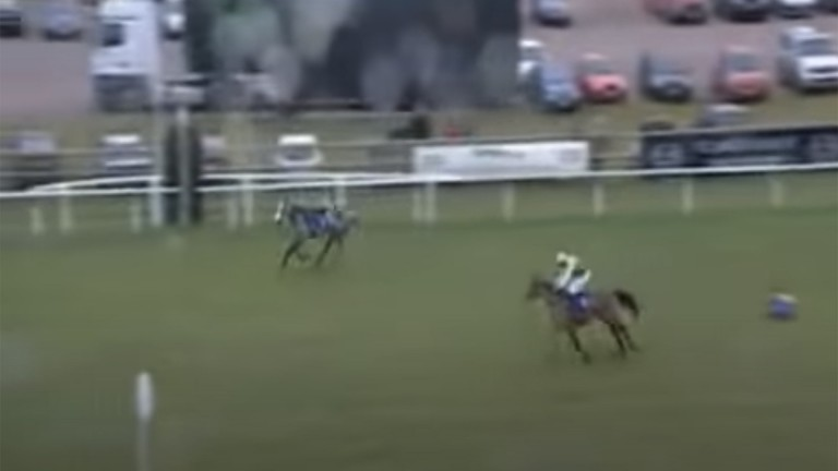 A riderless Topless still passes the post in front, but victory goes to Pangbourne