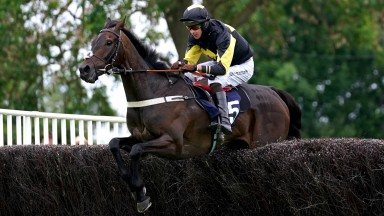 UTTOXETER, ENGLAND - JUNE 27: Storm Home ridden by Brendan Powell clears a hurdle on their way to winning the bet365 Summer Cup at Uttoxeter Racecourse on June 27, 2021 in Uttoxeter, England. (Photo by Tim Goode - Pool/Getty Images)