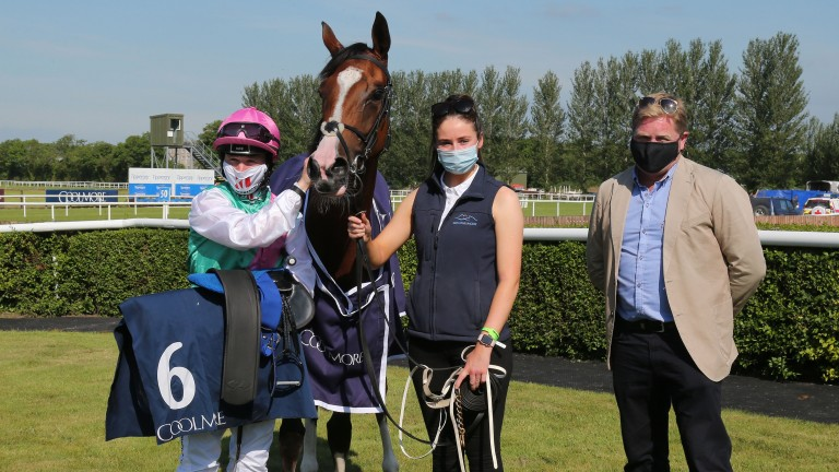 Sacred Bridge pricks her ears for her post-race photograph after winning the Coolmore Ten Sovereigns Tipperary Stakes