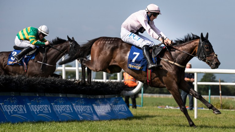 Sole Pretender (cloth 7) and Paul Townend land the Grade 3 Grimes Hurdle at Tipperary