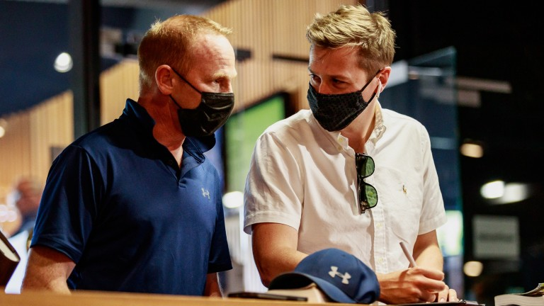 David O'Meara and Jason Kelly pictured after securing Italian Derby runner-up Juan De Montalban for €400,000 at Arqana on Thursday