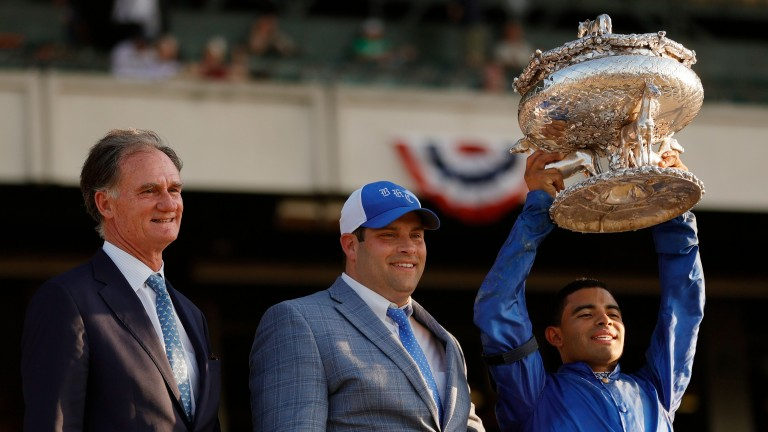 Jimmy Bell, pictured with Brad Cox (centre) and Luis Saez, is to retire from his day-to-day role with Godolphin by the end of the year