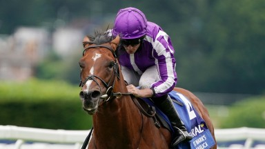 ESHER, ENGLAND - JULY 03: Ryan Moore riding St Mark's Basilica win The Coral-Eclipse at Sandown Racecourse on July 03, 2021 in Esher, England. Due to the Coronavirus pandemic, only owners along with a limited number of the paying public will be allowed to